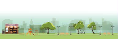 nature landscape with garden,public park, bakery shop,amusement park, vector illustration
