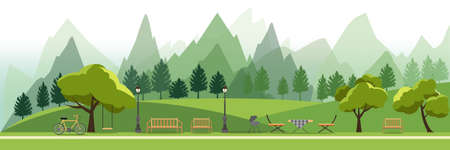 nature landscape with garden,public park,camping BBQ Grill outdoor, picnic,vector illustration Фото со стока - 83558521