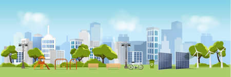 Green eco city and life , relax garden,urban landscape and industrial factory buildings concept.vector illustration Иллюстрация