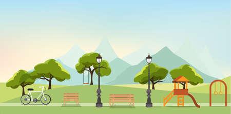 nature landscape with garden,public park, amusement park, vector illustration  イラスト・ベクター素材