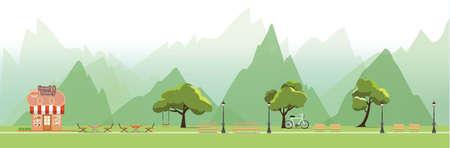 Nature landscape with garden,public park, bakery shop,vector illustration.