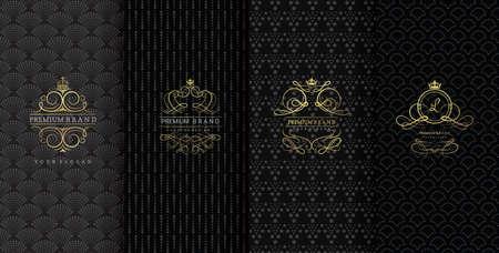 Collection d'éléments de conception, d'étiquettes, d'icônes, de cadres, d'emballage, de conception de produits de luxe, Isolé sur fond noir. illustration vectorielle Banque d'images - 83885445
