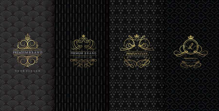 Collection of design elements,labels,icon,frames, for packaging,design of luxury products, Isolated on black background. vector illustration