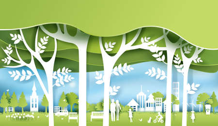 Green eco city and life paper art style. Urban landscape and industrial factory buildings concept.