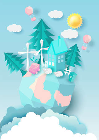 Green eco city and life paper art style, urban landscape and family , tree with pastel color style.vector illustration