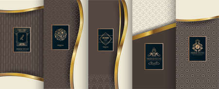 Collezione di elementi di design, etichette, icone, cornici per imballaggi, design di prodotti di lusso. Realizzato con foglia d'oro. Isolato su sfondo marrone. illustrazione vettoriale