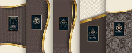 Sammlung Gestaltungselemente, Aufkleber, Ikone, Rahmen für das Verpacken, Design von Luxusprodukten. Gemacht mit goldener Folie. Isoliert auf braunem hintergrund. Vektor-Illustration