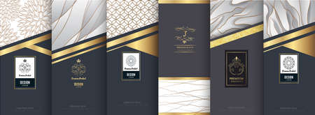 Collection of elegant design elements for labels or banners.