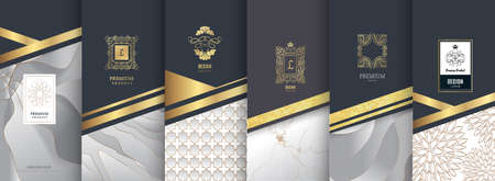 Collection of design elements, labels, icon, frames for packaging, design of luxury products. Made with golden foil. Isolated on silver and marble background. vector illustration