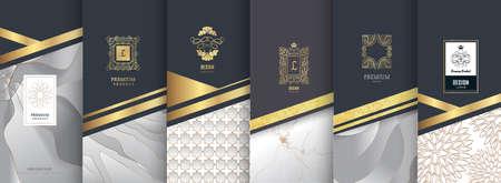 Collezione di elementi di design, etichette, icone, cornici per packaging, design di prodotti di lusso. Realizzato con foglia d'oro. Isolato su sfondo argento e marmo. illustrazione vettoriale
