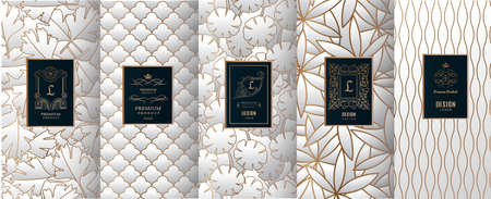 Collection of design elements, labels, icon, frames, for packaging, design of luxury products. for perfume, soap, wine, lotion. Made with golden foil. Isolated on silver color background. vector illustration Reklamní fotografie - 98359236