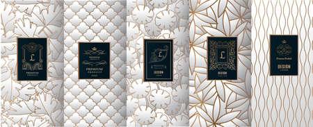 Sammlung Gestaltungselemente, Aufkleber, Ikone, Rahmen, für das Verpacken, Design von Luxusprodukten. für Parfüm, Seife, Wein, Lotion. Gemacht mit goldener Folie. Getrennt auf silbernem Farbenhintergrund. Vektor-Illustration Vektorgrafik