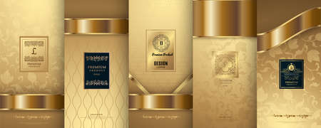 Collection of design elements, labels, icon, frames, for packaging, design of luxury products. for perfume, soap, wine, lotion. Made with golden foil. Isolated on flower background. vector illustration