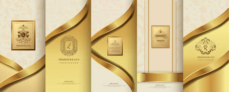 Collection of design elements, labels, icon, frames, for packaging,design of luxury products. for perfume, soap, wine, lotion. Made with golden foil. Isolated on flower background. vector illustration Ilustracja
