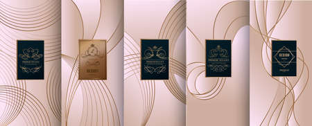 Collection of design elements, labels, icon, frames, for packaging, design of luxury products. Made with golden foil. Isolated on line background. vector illustration