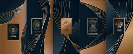 Collection of design elements, labels, icon, frames, for packaging, design of luxury products. Made with golden foil. Isolated on line background. vector illustration Фото со стока - 98532722