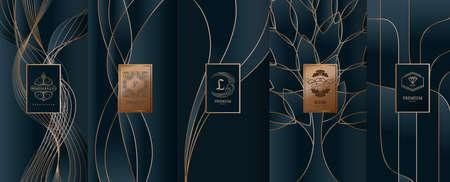 Collection d'éléments de conception, étiquettes, icône, cadres, pour l'emballage, conception de produits de luxe. Fabriqué avec une feuille d'or. Isolé sur fond de ligne. illustration vectorielle Banque d'images - 98529564
