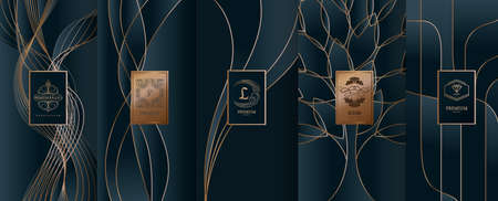 Collection of design elements, labels, icon, frames, for packaging,design of luxury products. Made with golden foil. Isolated on line background. vector illustration