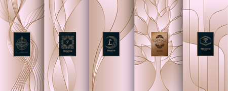 Collection of design elements, labels, icon, frames, for packaging,design of luxury products. Made with golden foil. Isolated on line background. vector illustration Фото со стока - 98529567