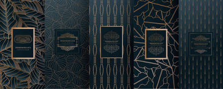Collection of design elements, labels, icon, frames, for packaging,design of luxury products. Made with golden foil. Isolated on line background. vector illustration Фото со стока - 98529570