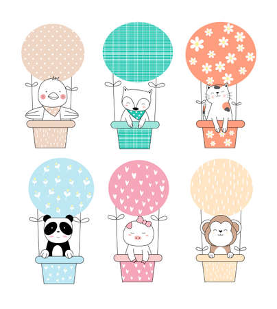Cute baby animal with balloon cartoon hand drawn style
