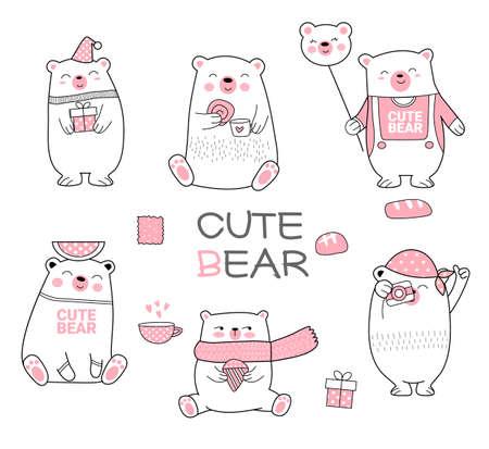 Cute baby bear cartoon hand drawn style Фото со стока - 110075759