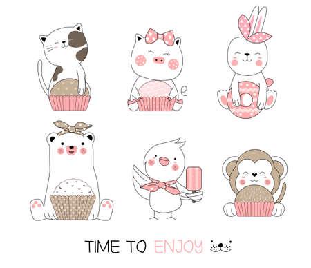 Cute baby animal cartoon hand drawn style Фото со стока - 110075760