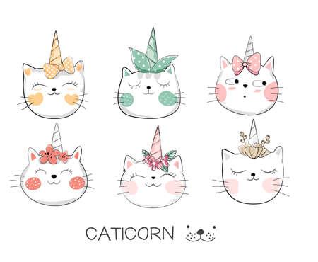 Cute baby cat cartoon hand drawn style Фото со стока - 110075761