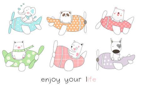 Cute baby animal cartoon hand drawn style Фото со стока - 110075764