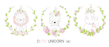 Cute baby animal cartoon hand drawn style Фото со стока - 110075766