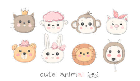 Cute baby animal cartoon hand drawn style Фото со стока - 110292470