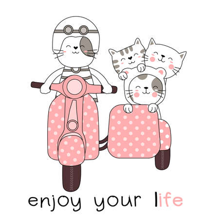 Cute baby catl with motorcycle cartoon hand drawn style