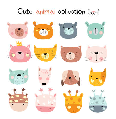 Cute baby animal with face cartoon hand drawn style