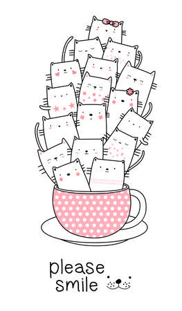 Cute baby cat with cup cartoon hand drawn style