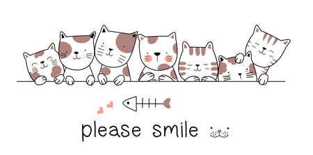 Cute baby cat cartoon hand drawn style Фото со стока - 118379619