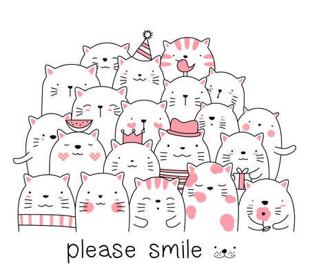 Cute baby cat cartoon hand drawn style Фото со стока - 118379621