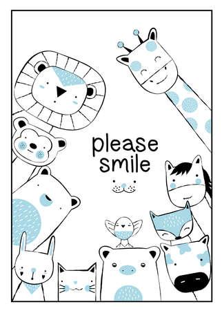 Cute baby animal cartoon hand drawn style Фото со стока - 118379623