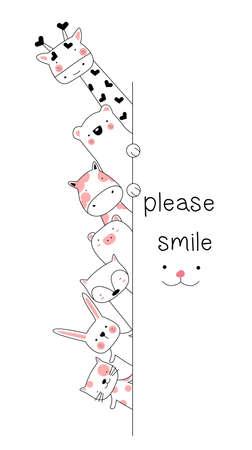 Cute baby animal cartoon hand drawn style Фото со стока - 118379625