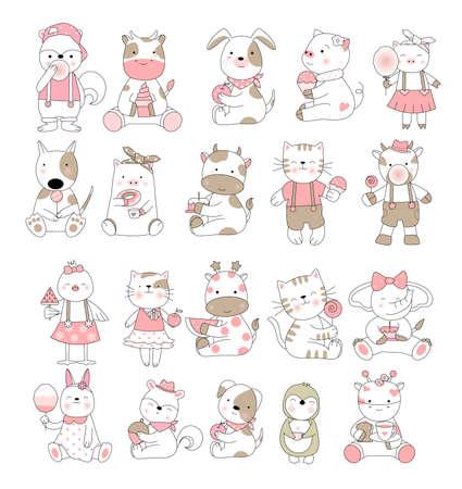 Cute baby animal cartoon hand drawn style Фото со стока - 118379628