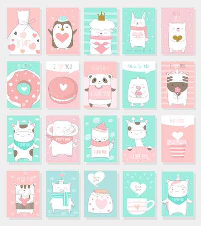 Valentine's Day background with cute baby animal cartoon hand drawn style