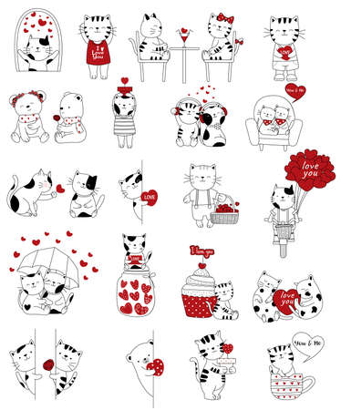 Valentines Day background with cute baby cat cartoon hand drawn style
