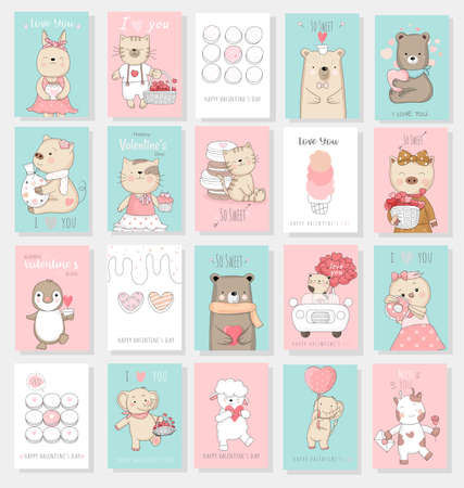 Valentines Day background with cute baby animal cartoon hand drawn style Иллюстрация