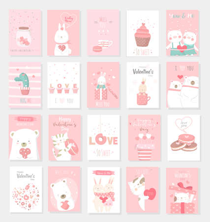 Valentines Day background with cute baby animal cartoon Иллюстрация