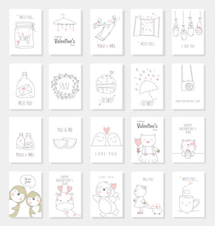 Valentine's Day card set with hand drawn style