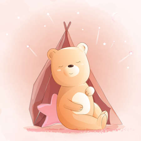 Cute baby bear watercolor style Иллюстрация