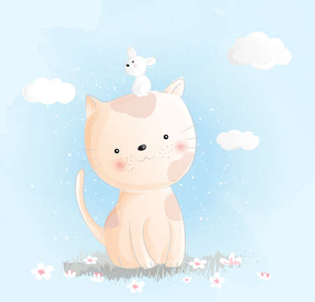 Cute baby cat watercolor style Иллюстрация