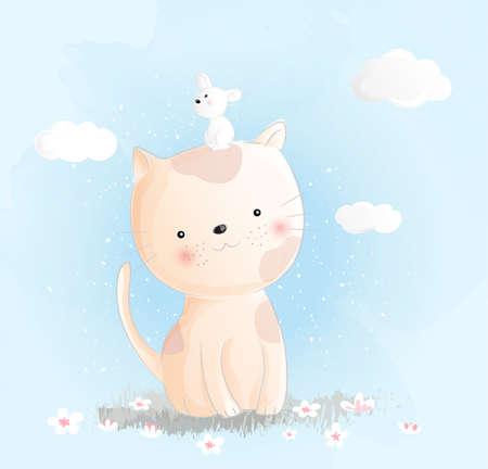 Cute baby cat watercolor style Фото со стока - 118379767