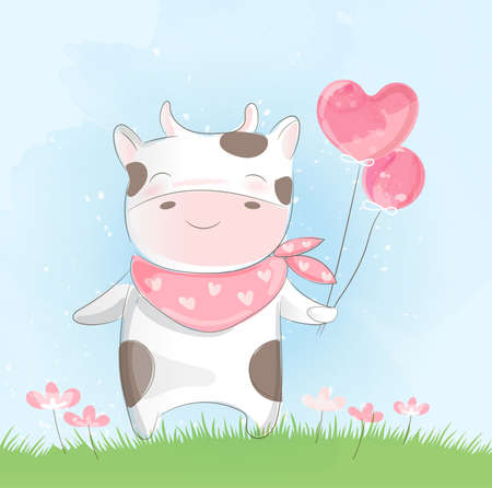 Cute baby cow  watercolor style Иллюстрация