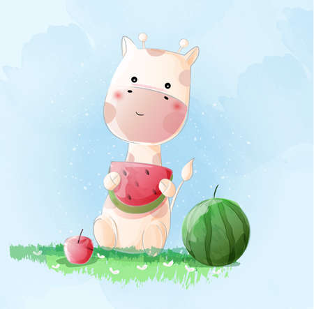 Cute giraffe watercolor style