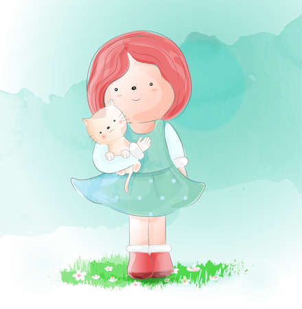 Cute girl with cat watercolor style Фото со стока - 118379772